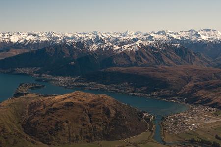 wakatipu: Queenstown Landscape from above across lake Wakatipu
