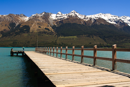 south island new zealand: Lake Wakatipu Pier in Glenorchy, South Island, New Zealand Stock Photo