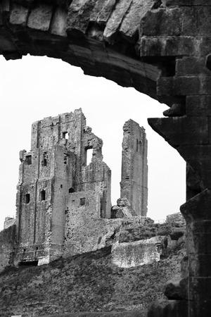 ruin: Black and White Dramatic Corfe Castle Ruin