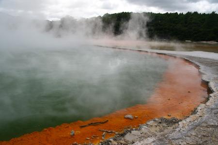 thermal spring: Champagne Pool, hot thermal spring, Rotorua,Wai-O-Tapu thermal area,  New Zealand Stock Photo