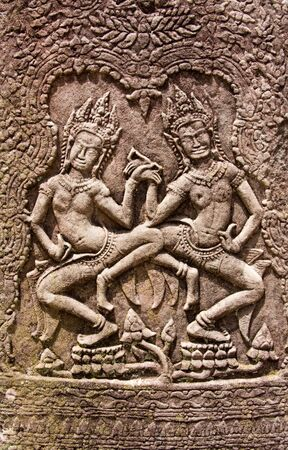Bas relief on the facade of Angkor Wat, Siem Reap, Cambodia