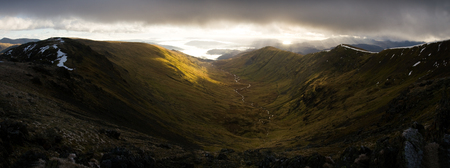borrowdale: Panoramic Mountain valley landscape in Fairfiled Horseshoe, Lake District, Cumbria, Great Britain