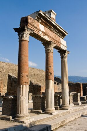 archaeologists: Ancient Pillar Arches in Pompeii Ruins, Italy