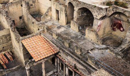 archaeologists: Ancient Herculaneum ruins Naples, Italy Stock Photo