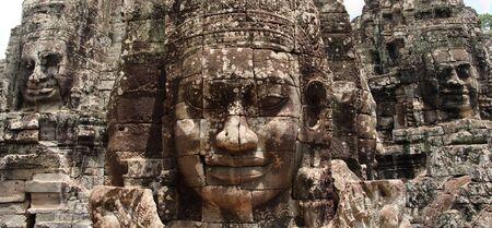 The Bayon Prasat Bayon Khmer temple at Angkor in Cambodia Stock Photo