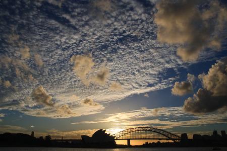 Sydney Harbor Sunset Skyline Stock Photo