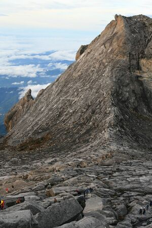 assent: Climbers make their way down Mount Kinabalu Peak, Borneo, Malaysia