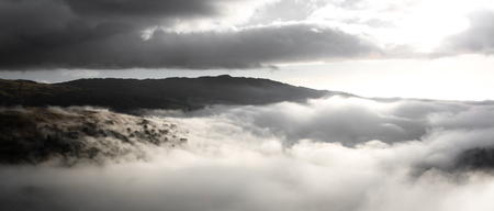 lakeland: Morning Fog Lingering Over the Hills, The Lake District.