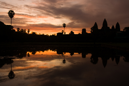 The ancient Khmer temple of Angkor Wat at sunset Stock Photo