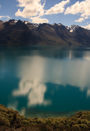 south island new zealand: Scenic view of mountainous Lake Wakatipu near Queenstown, South Island, New Zealand Stock Photo