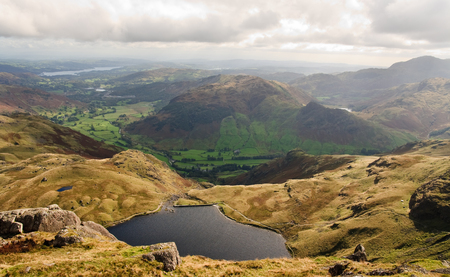 langdale: Langdale Valley and Stickle Tarn, Lake District Stock Photo