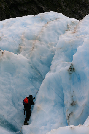 crevasse: Glacier Hike across ice crevasse in Franz Joseph, New Zealand