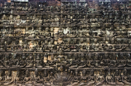 bass relief: Huge detailed stone wall art carving, Angkor temples, Siem Reap, Cambodia