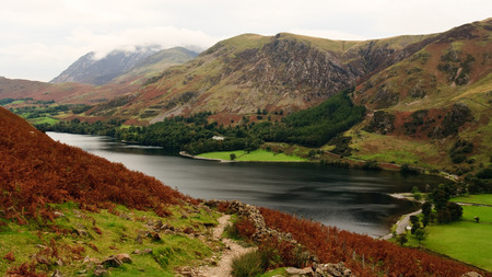 lake district england: View from Haystacks path of Crummock Water towards Buttermere, Lake District, England