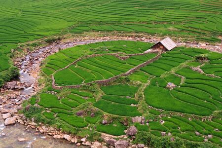 agri: View over river and rice paddy terraces Stock Photo