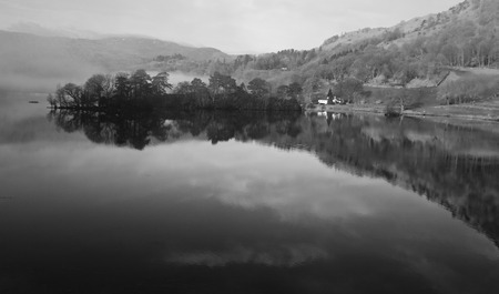 cumbria: Black and White Countryside Lake reflection, Lake district national park cumbria, england, uk