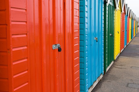 bournemouth: Row of colourful beach huts, Bournemouth, England Stock Photo