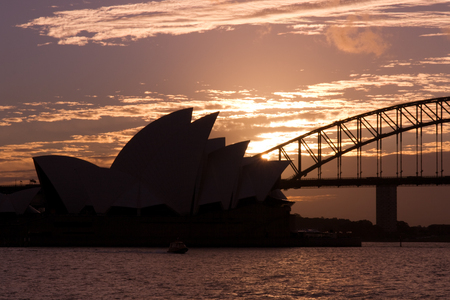 sydney opera house: Dark Sydney Opera House and Sydney Harbour Bridge silhouette Sunset portrait