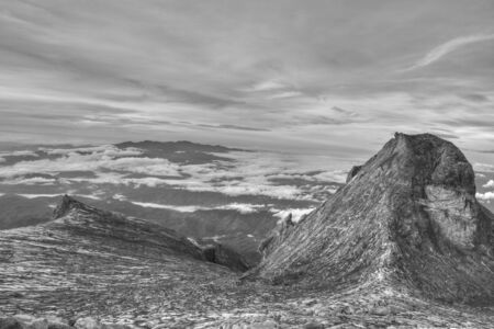 assent: Black and White view from Mount Kinabalu summit, Borneo, Malaysia