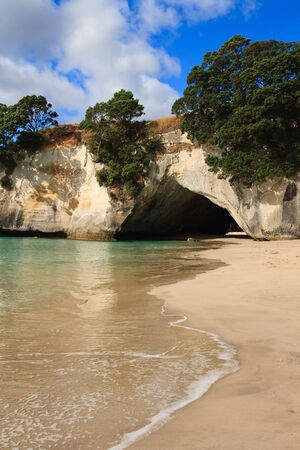 Cathedral Cove Coromandel Arch in New Zealand Stock Photo