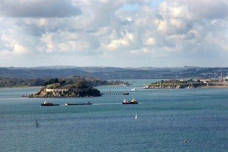 drakes: View across Plymouth  Sound, Plymouth UK. Stock Photo