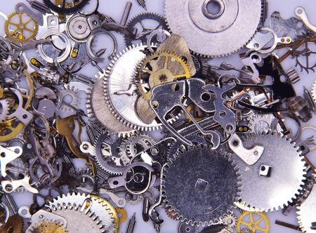 dismantled: Watch Parts.Macro study of dismantled watch parts.