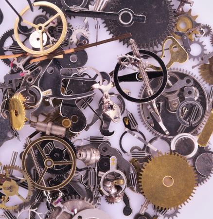 engineered: Watch Parts dismantled.Macro study of  precisely engineered watch parts.