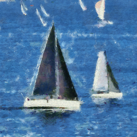 spinnaker: Sailing vessels in race around Plymouth Sound, Devon, UK, mid summer evening.