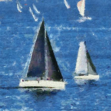 Segelschiffe in Rennen um Plymouth Sound, Devon, Großbritannien, Mitte Sommerabend.