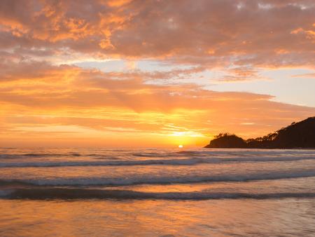 Beautiful sunrise over a popular tourist beach on the New South Wales South Coast, Australia