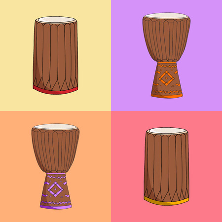 djembe: Vector hand drawn African music instruments. djembe and dunumba instruments symbols sketch Illustration