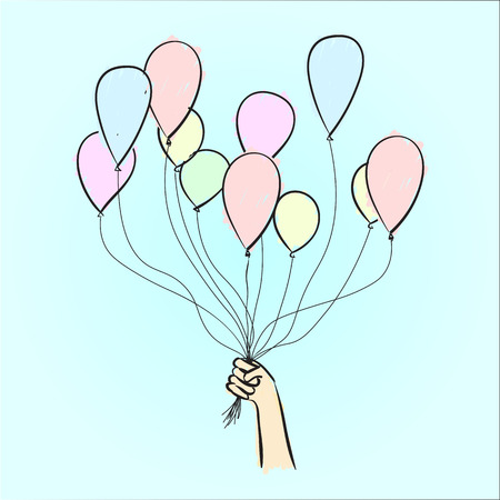 ascent: vextor hand drawn balloons in hand. colorful sketch on a blue background Illustration