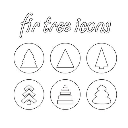 firtree: vector contour fir-tree icons set on a white background Illustration
