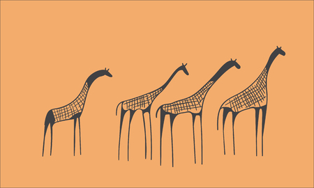 pintura rupestre: vector dibujado a mano manada petroglifo de jirafas. concepto antiguo esbozo sobre un fondo naranja Vectores