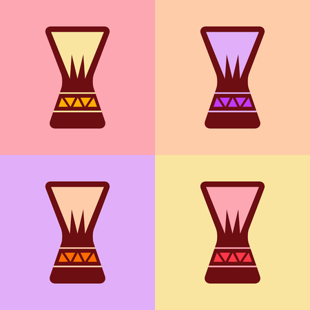 djembe: Djembe icon concept set. Digital vector illustration.