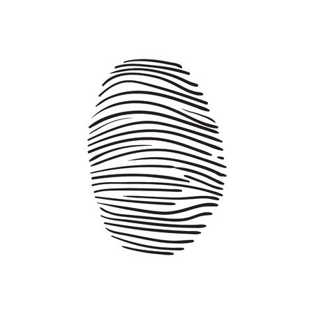 theft proof: vector hand drawn fingerprint scan sketch on a white background