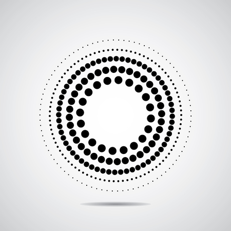 Halftone dots circle. Black on white and very good Vettoriali