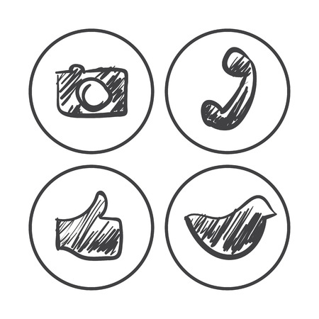 social net: vector hand drawn grunge social net icons set on a white background
