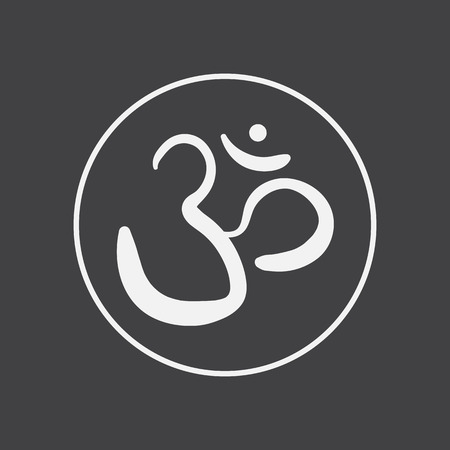 religious icon: vector hand drawn om sign and symbol. sacred sound sketch on a black background Illustration