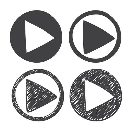 ベクトル手描画再生アイコン。白い背景の上のスケッチ記号