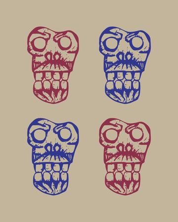 decrepit: human skulls dark brutal sketch set on a beige background