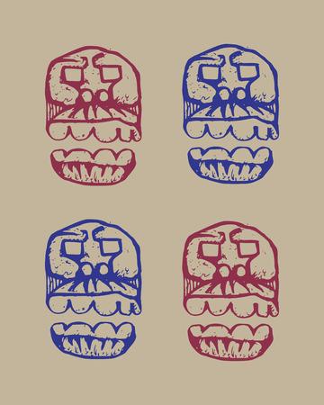 dark beige: human skulls dark brutal sketch set on a beige background