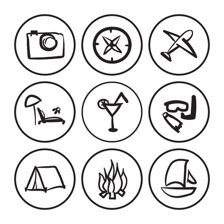 contoured: vector hand drawn contoured travel icons set. Isolated sketch concept Illustration