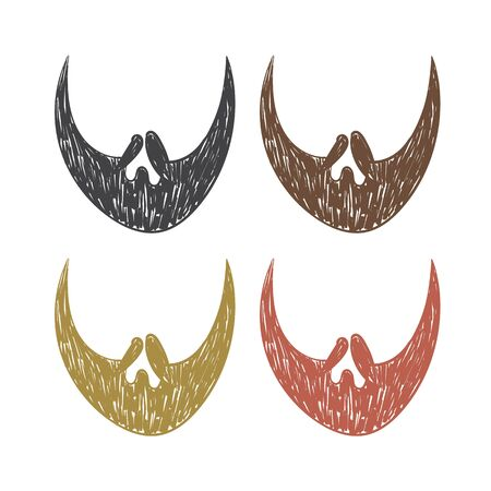 vector hand drawn beard set. brutal Hairs sketch on a white background Illustration