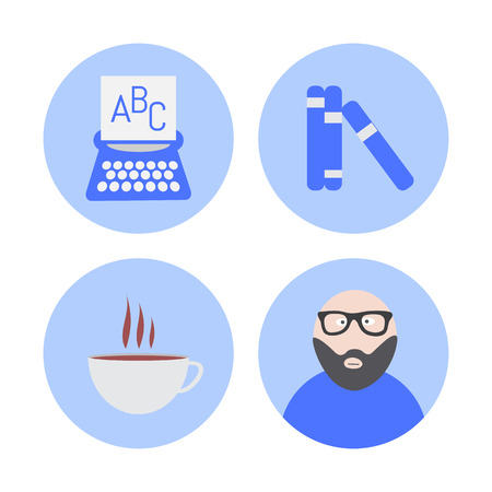 writer: Vector writer icons set. creative concept collection Illustration