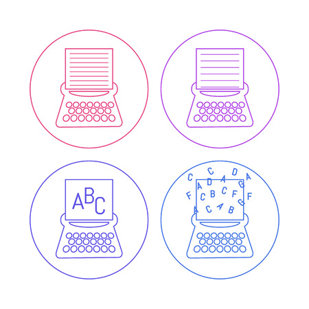 scriptwriter: vector contoured design typewriter icons set on a black background