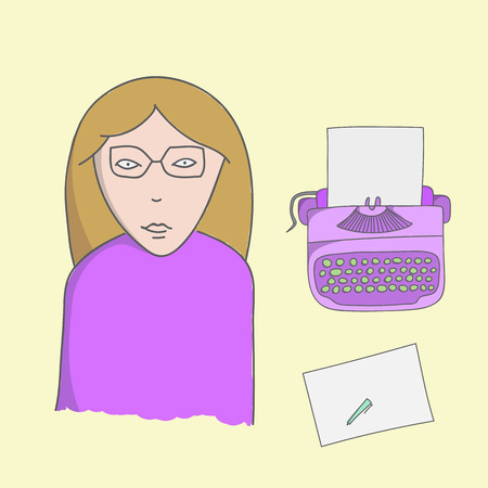 writer: Character writer lady illustration with typewriter, sheet and pen on a yellow background