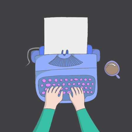 vector illustration concept of author hands typing on a manual vintage stylish typewriter with coffee 일러스트