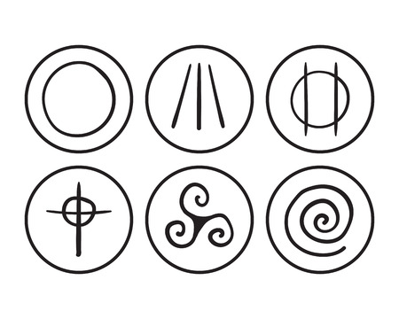 triskele: vector hand drawn symbols of Druidism on a white background.  Isolated sketch concept Illustration