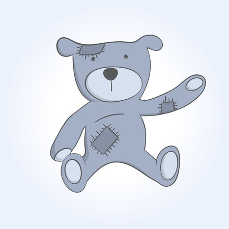 soft toy: vector old soft toy bear sketch on a blue background